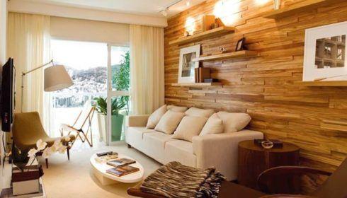 revestimentos de madeira na parede 490x280 PAREDE DE MADEIRA, revestimento bonito que dá certo