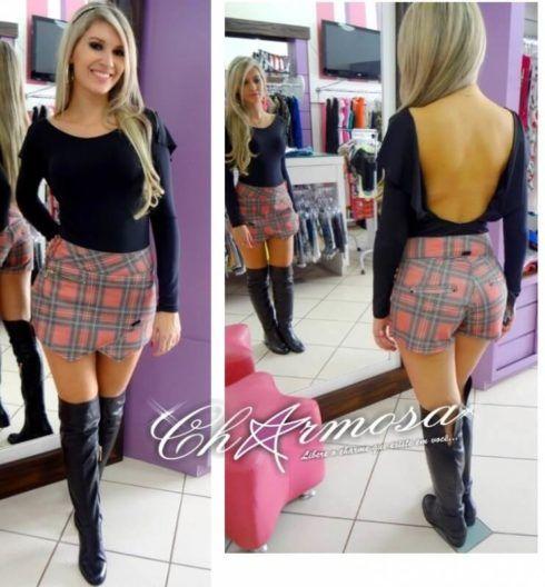 shorts saia xadrez 490x528 Como usar estampa XADREZ conheça os looks