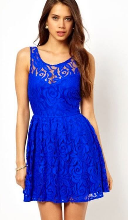 vestido azul curto em renda Modelos VESTIDO SOCIAL CURTO como usar