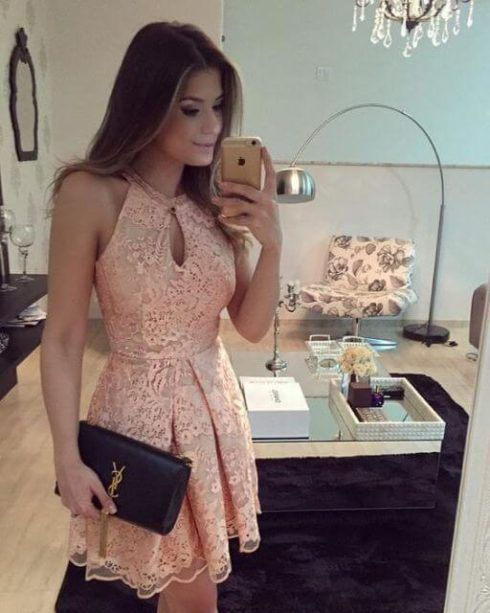 vestido curto de renda para festa 490x613 Modelos VESTIDO SOCIAL CURTO como usar