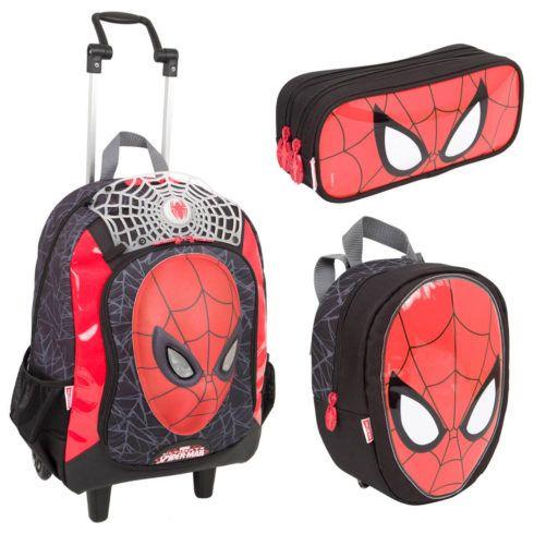 kit escolar homem aranha 490x490 Mochila infantil com Lancheira (Para meninos e Meninas)