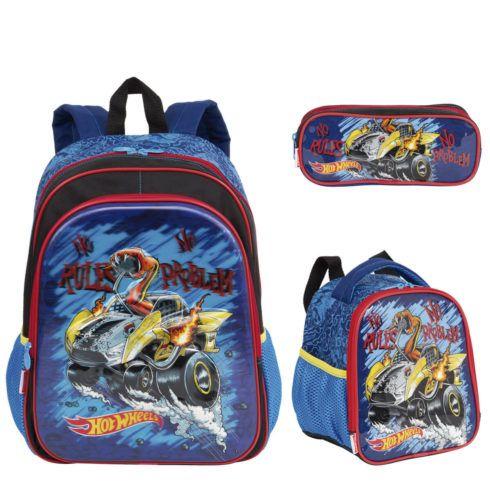 kit escolar hotweels meninos 490x490 Mochila infantil com Lancheira (Para meninos e Meninas)