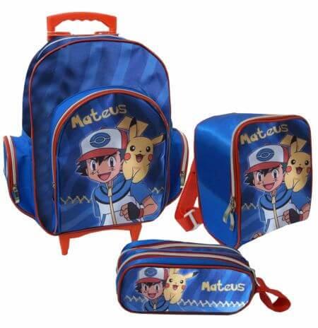 mochila escolar com rodinhas de menino Mochila infantil com Lancheira (Para meninos e Meninas)