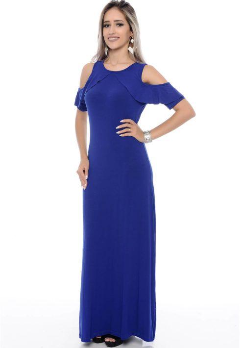 vestido longo ombro vazado de malha 490x710 VESTIDOS DE MALHA modelos para usar no verão (Curtos e Longos)