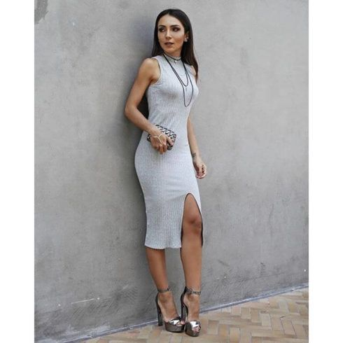 vestidos de malha canelada curto 490x490 VESTIDOS DE MALHA modelos para usar no verão (Curtos e Longos)