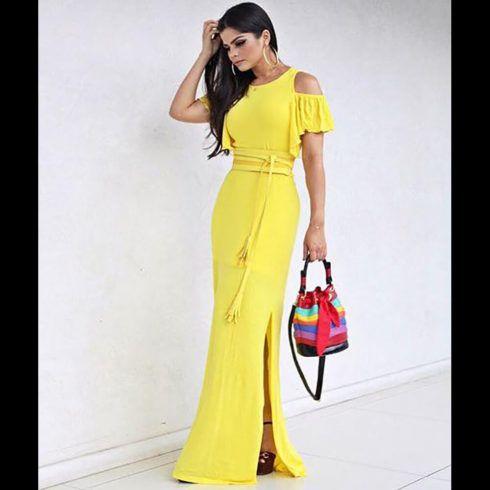 vestidos de malha longo amarelo 490x490 VESTIDOS DE MALHA modelos para usar no verão (Curtos e Longos)
