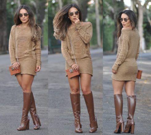 bota cano longo com vestido 3 490x439 Botas Cano Alto (Longo) Como usar com vestido, calça, saia
