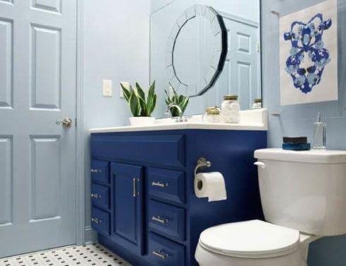 banheiros decorados com azul 6 490x376 Ambientes decorados com Azul (Sala, Cozinha, banheiro, Quarto)