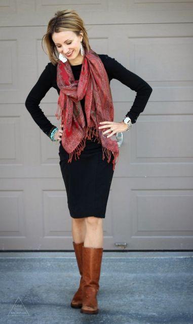 cachecol com vestido CACHECOL para Inverno ( Combinações da Moda ) Confira
