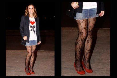 como usar meia cal%C3%A7a de renda com saia jeans 490x326 Meia calça para o INVERNO veja como usar com elegância
