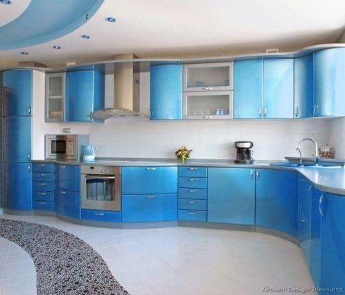 cozinha decorada com azul 4 490x419 Ambientes decorados com Azul (Sala, Cozinha, banheiro, Quarto)