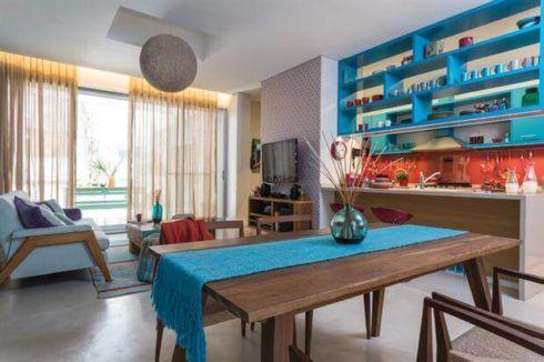cozinha decorada com azul 7 490x326 Ambientes decorados com Azul (Sala, Cozinha, banheiro, Quarto)