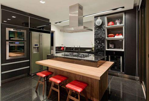 cozinha planejada com ilha central 490x331 Cozinha Planejada MODERNA configurações maravilhosas