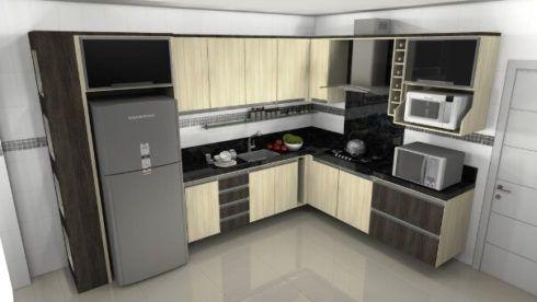cozinha planejada em l simples 490x276 Cozinha Planejada MODERNA configurações maravilhosas