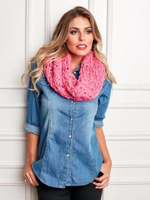 gola de trico rosa 490x653 CACHECOL para Inverno ( Combinações da Moda ) Confira