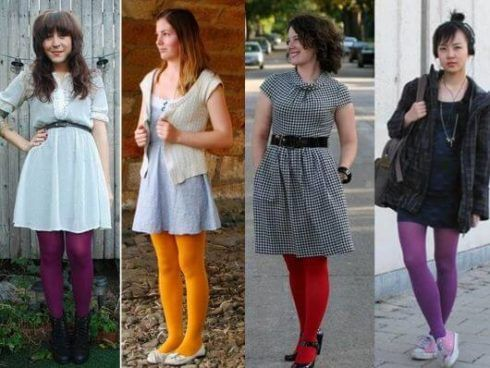 meia calca colorida com vestido 490x368 Meia calça para o INVERNO veja como usar com elegância
