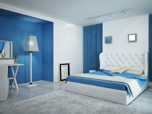 quartos decorados com azul 2 490x368 Ambientes decorados com Azul (Sala, Cozinha, banheiro, Quarto)