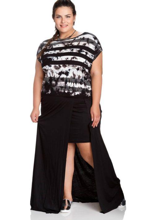 saia longa de malha plus size 490x708 Especial saias PLUS SIZE modelitos que encantam