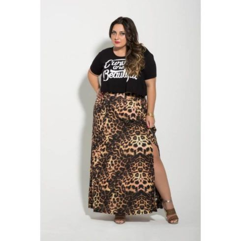 saia longa de oncinha plus size 490x490 Especial saias PLUS SIZE modelitos que encantam