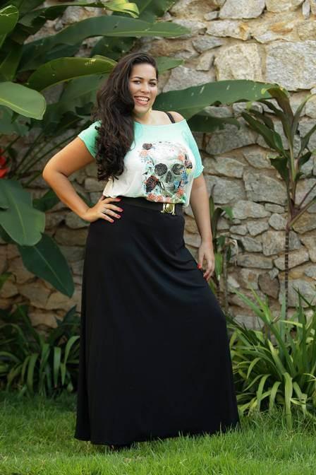 saia preta plus size longa Especial saias PLUS SIZE modelitos que encantam