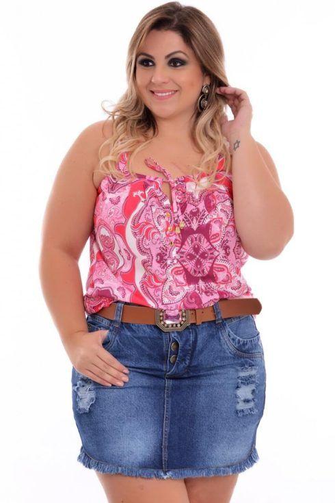 saias plus size jeans curta 490x735 Especial saias PLUS SIZE modelitos que encantam
