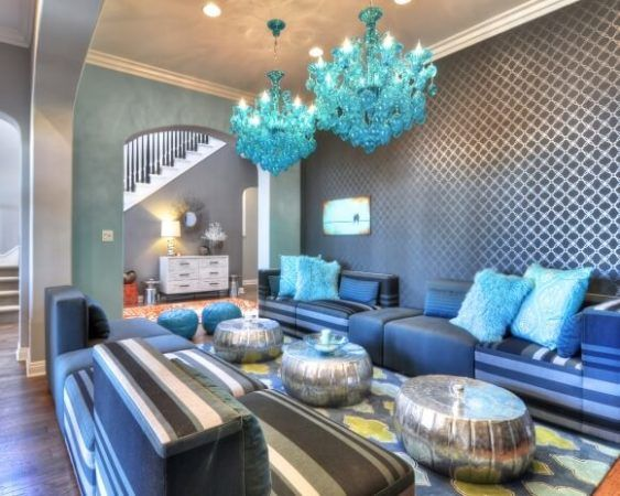 Ambientes decorados com Azul (Sala, Cozinha, banheiro, Quarto)