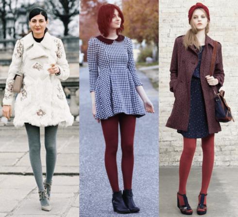 vestido curto de inverno com meia calca colorida 490x447 Meia calça para o INVERNO veja como usar com elegância