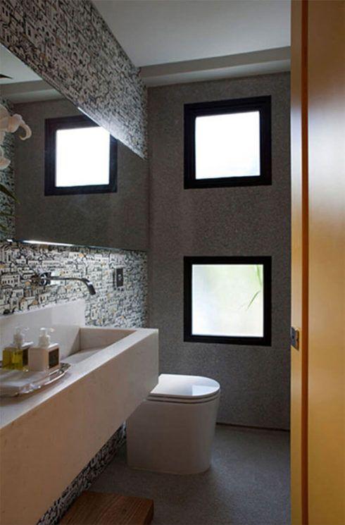 lavabo moderno com espelho 490x745 Lavabo Moderno, Simples, Pequeno, Como Decorar