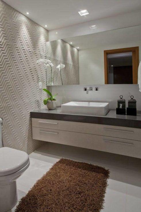 lavabo moderno com parede 3d 490x735 Lavabo Moderno, Simples, Pequeno, Como Decorar