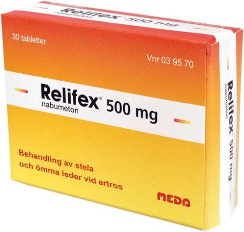 RELIFEX 500 MG 490x466 Antiinflamatório para Distensão Muscular ( Tratamento )