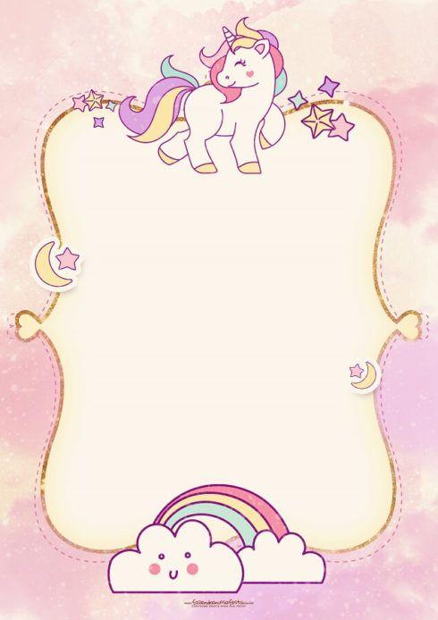 convite unicornio cha de bebe 1 490x694 Decoração de Chá de Bebê Unicórnio Dicas interessantes