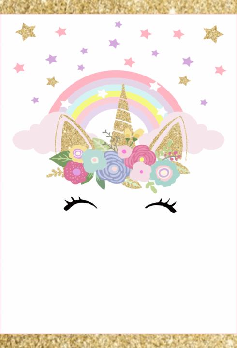 convite unicornio para editar 2 490x719 Decoração de Chá de Bebê Unicórnio Dicas interessantes