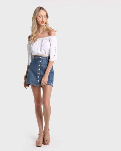 imagem 38 490x611 Jeitos de usar Saia Jeans Curta Perfeita para o Verão