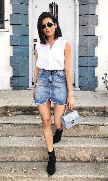 imagem 4 10 Jeitos de usar Saia Jeans Curta Perfeita para o Verão