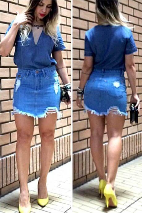 imagem 46 Jeitos de usar Saia Jeans Curta Perfeita para o Verão
