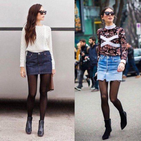 saia jeans curta com meia calca 490x490 Jeitos de usar Saia Jeans Curta Perfeita para o Verão