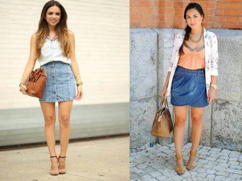 saia jeans curta com sapato de salto 1 490x368 Jeitos de usar Saia Jeans Curta Perfeita para o Verão