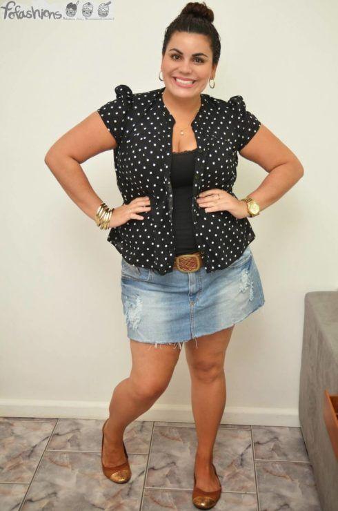 saia jeans curta para gordas 1 490x740 Jeitos de usar Saia Jeans Curta Perfeita para o Verão
