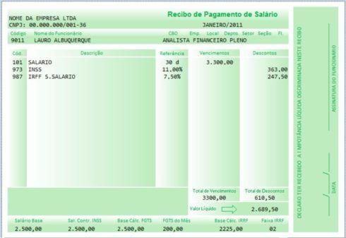 modelos de holerite layout verde 490x337 Modelos de Holerite para Baixar e Imprimir e Editar