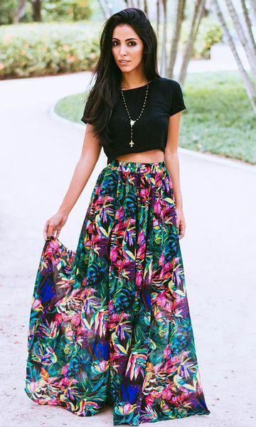 saia longa de verao floral Saia da Moda Verão, Modelitos especiais que vestem bem