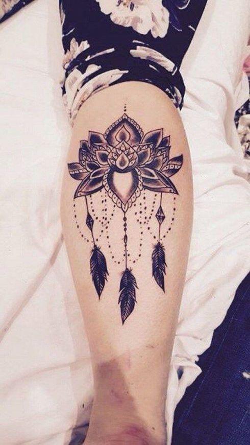 tatuagem flor de lotus na perna 3 490x871 Tatuagem Flor de Lótus Feminina, Áreas a Tatuar