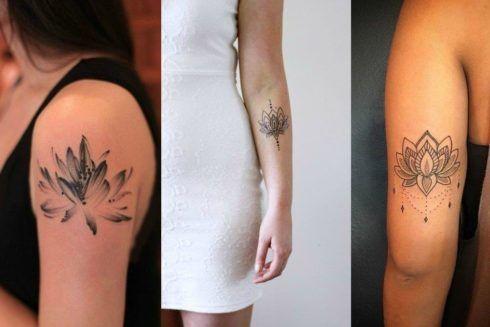 tatuagem flor de lotus no braco feminina 490x327 Tatuagem Flor de Lótus Feminina, Áreas a Tatuar