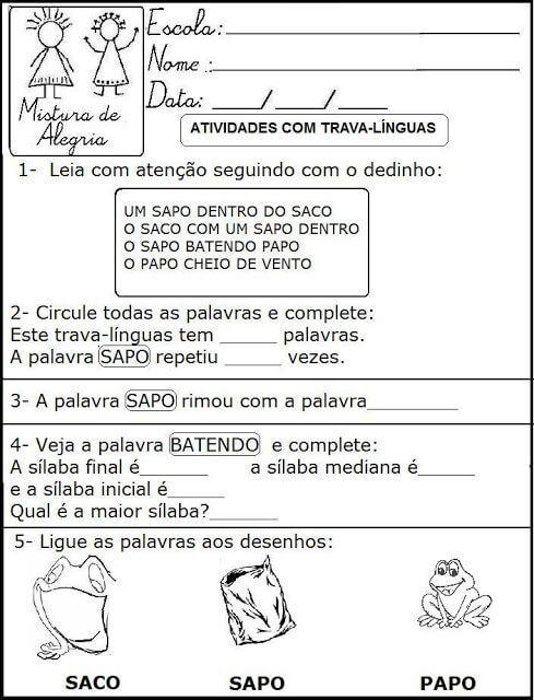 atividade trava lingua Atividades Trava Língua Infantil para baixar e Imprimir