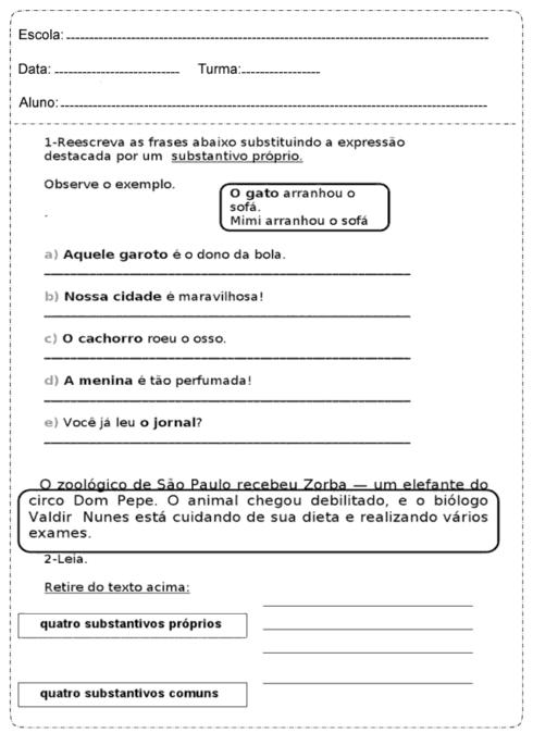 atividades substantivo proprio e comum 1 490x674 Atividades Substantivo Próprio e Substantivo Comum