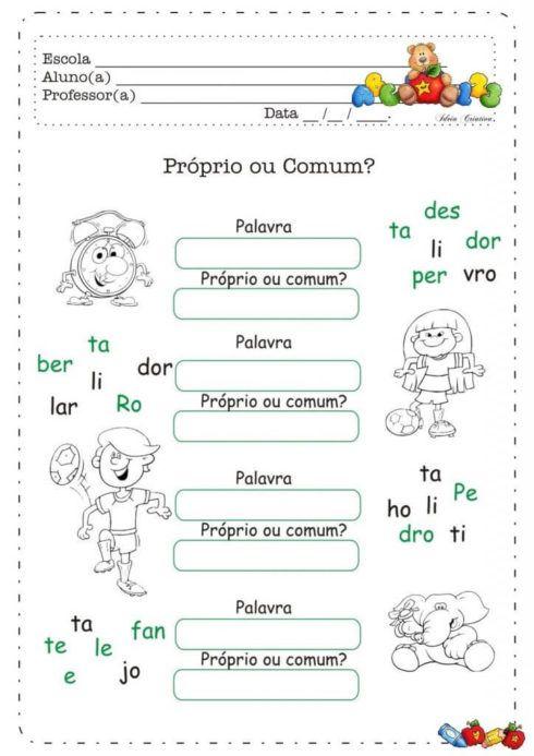 atividades substantivo proprio e comum 2 490x693 Atividades Substantivo Próprio e Substantivo Comum