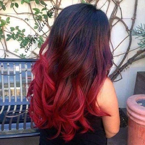 cabelo ombr%C3%A9 hair vermelho 1 490x490 Cabelo Ombré Hair visuais Incríveis e charmosos