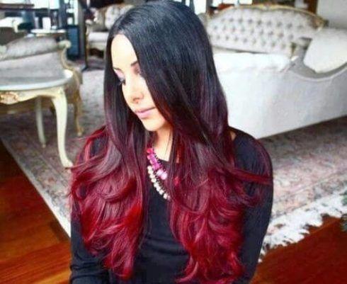 cabelo ombr%C3%A9 hair vermelho 2 490x401 Cabelo Ombré Hair visuais Incríveis e charmosos