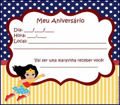 convite de aniversario mulher maravilha 1 Festa de Aniversário Mulher Maravilha para Meninas, Conheça
