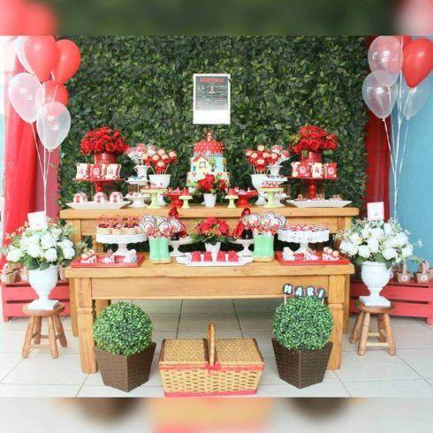 decora%C3%A7%C3%A3o festa chapeuzinho vermelho 2 490x490 Decoração Festa Chapeuzinho Vermelho de Aniversário infantil