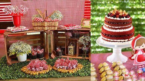 decora%C3%A7%C3%A3o festa chapeuzinho vermelho 3 490x276 Decoração Festa Chapeuzinho Vermelho de Aniversário infantil
